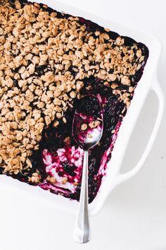 Tahini Oat Blueberry Crumble (Vegan + Gluten-Free)