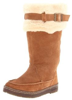 """BEARPAW Women's Siren Boot                                 leather                    Rubber sole                    Shaft measures approximately Mid-Calf"""" from arch                    Adjustable top collar strap with buckle closure                    Approx. 114'' heel height                    Approx. 12'' boot shaft height                    Back lace closure                    Blanket-stitch detail"""