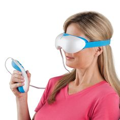 The Strain Relieving Eye Massager - This is the massage mask that uses mist, gentle vibration, and warmth to relax and soothe the eyes. Its 2 oz. reservoir accepts tap or distilled water, which is ultrasonically converted into an oxygen-rich mist that hydrates and nourishes the orbital area and temples, reducing strain around the eyes. - Hammacher Schlemmer