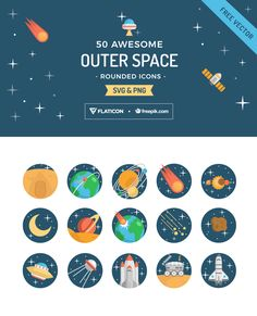 Travel to outer space with these celestial rounded icons by Freepik and Flaticon | Freepik Blog #graphicdesign