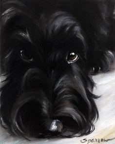 SPARROW Scottish Terrier Scottie dog art painting pet portrait black puppy in Art | eBay