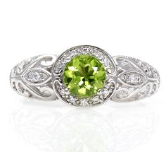 14K Vintage Peridot Engagement Ring Diamond Halo Art by RareEarth, $920.00