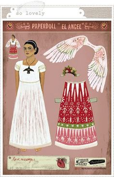 Mexican icons. Frida Kahlo. Mexican folk. Paper dolls.