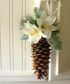 Rustic Alternative Pomander / Kissing Ball / Flower Girl Basket with Natural Pine Cone, Ivory Silk Lily and Dusty Miller Leaves - Frost