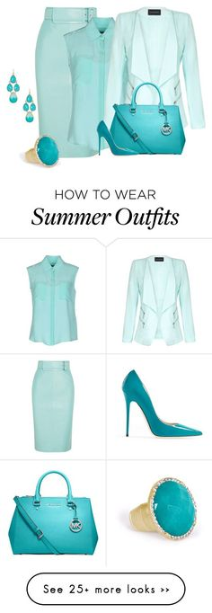 """Blue on Blue"" by coromitas on Polyvore featuring Balenciaga, Tru Trussardi, Jumpo, MICHAEL Michael Kors, Jimmy Choo, Towne & Reese and Olivia Welles"