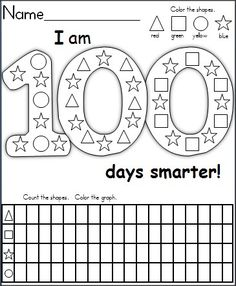 This is a FREE graphing and shape recognition activity for the 100th day of school available FREE on Madebyteachers.com.  It's a wonderful activity for 1st grade and capable Kindergarten students.  Children color the shapes, then they complete the graphing activity by counting the shapes in the 100 days picture. 100th Day Of School Crafts, School Holidays, School Days, 100 Days Of School Centers, School Fun, 100 Day Of School, School Stuff, Graphing Activities, Kindergarten Classroom