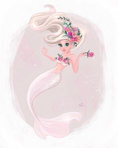 "2,559 Likes, 36 Comments - Adrianna Vanderstelt (@art_by_adrianna) on Instagram: ""Mermaids and florals . . . #etsy #etsyshop #mermiadhair #mermaidart #mermaid #etsyart #etsygram…"""