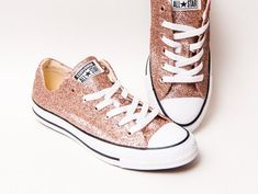 Glitter - Rose Gold Canvas Converse® All Star Low Top Sneakers Tennis Shoes by Princess Pumps Wedding Tennis Shoes, Glitter Tennis Shoes, Sparkly Wedding Shoes, Wedding Converse, Bling Shoes, Sequin Wedding, Glitter Flats, Rhinestone Wedding, Prom Shoes