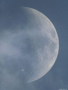 ISS with moon background