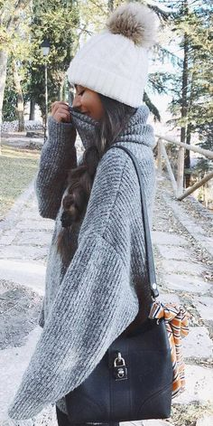 what to wear with a knit oversized sweater : hat bag skinnies- Tap the link now to see our super collection of accessories made just for you! Outfits For Teens, Casual Outfits, Cute Outfits, Fall Winter Outfits, Autumn Winter Fashion, Look Fashion, Fashion Outfits, Fashion Fall, Fashion Beauty