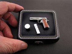Hand Made 1:6 Scale Miniature Colt 1911A1 Gun Firearms in Pure .925 Silver