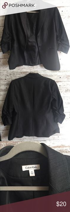 Calvin Clein dark denim blazer Calvin Klein dark denim blazer. This is such a sharp looking blazer.    It has a pocket on each side. Roughing on each side. You can have a lot of fun dressing up with this/  Excellent condition. Calvin Klein Jackets & Coats Blazers