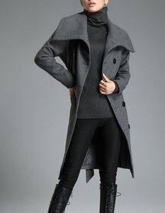 Image of Women's Grey Coat Burnt twill Wool coat double breasted button Coat F4