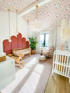 Whimsical Nursery, Boho Nursery, Nursery Room, Girl Nursery, Girl Room, Wallpaper Ceiling, Nursery Wallpaper, Baby Room Design, Babies Rooms