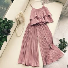 Fashion 2019 New Ruffled Crop Top Elastic Waist Wide Leg Pants Two Piece Set Women Spaghetti Strap Holiday Beach Pleated Suit Indian Fashion Dresses, Girls Fashion Clothes, Teen Fashion Outfits, Dress Indian Style, Mode Outfits, Dress Outfits, Indian Gowns, Cute Casual Outfits, Pretty Outfits