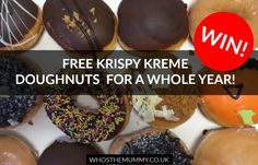 Win Free Krispy Kreme Doughnuts for a Year - Who's the Mummy? Krispy Kreme Doughnut, Competition Giveaway, Kind And Generous, Sweet Desserts, Xmas, Christmas, Doughnuts, Summer Recipes, Food Ideas