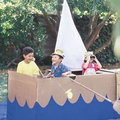 Pretend Boat using broomsticks for oars.