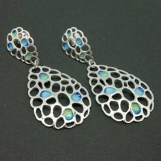 Pendientes Plata de Ley y esmalte a Fuego / Earrings Sterling Silver