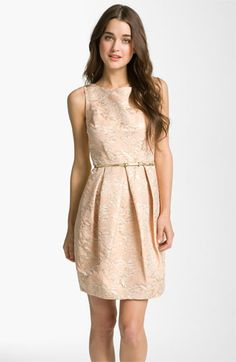 Gold Bridesmaid Dress. Gorg!    #Nordstromweddings    Eliza J Belted Cotton Jacquard Tulip Dress | Nordstrom