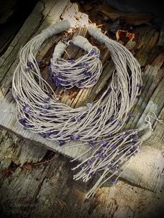 Linen jewelry set with amethyst
