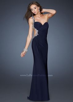 Gorgeous cutout prom gown - Gigi 18783 Navy One Shoulder Dress - http://www.rissyroos.com/gigi-18783.html