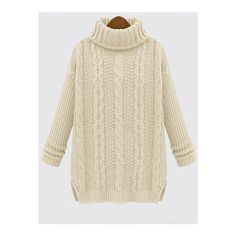 White Long Sleeve Turtleneck Chunky Cable Knit Sweater ($23 ...