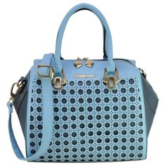 Sally Young Patent Hollow Bowler Bag With Rivet Detail Purple