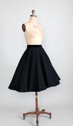 Vintage 1950s Skirt : 50s Black Felt Circle by RaleighVintage