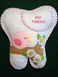 """Girls Hand Made Felt Tooth Fairy Pillow With Pink Bird 7 1 4"""" X 7""""   eBay"""