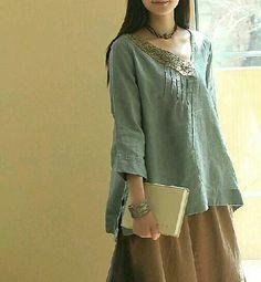 Blue Linen shirt/ Linen sark / blouse/ rark/ by Eloneeclothing Boho Fashion, Girl Fashion, Womens Fashion, Fashion Design, Look Boho, Bohemian Style, Beautiful Outfits, Cool Outfits, Mein Style
