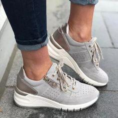 Wedge Sneakers, Platform Sneakers, Casual Sneakers, Sneakers Fashion, Casual Shoes, Shoes Style, Sneakers Women, Women's Casual, Loafer Sneakers