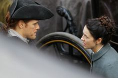 Outlander stars Sam Heughan and Caitriona Balfe were in Edinburgh's Old Town today to film some scenes for the upcoming third series of the programme.
