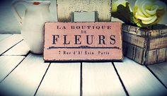 Miniature flower sign shabby chic dollhouse by DewdropMinis Miniature Greenhouse, French Flowers, Dollhouse Accessories, Vintage Dolls, Picture Show, Hand Stamped, Dollhouse Miniatures, Shabby Chic, Hand Painted