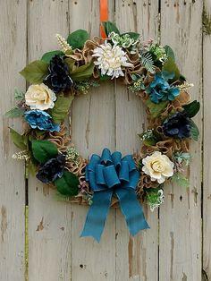Burlap Farmhouse Wreath, Blue Floral Wreath, Spring Wreath, Country Kitchen Decor, Wreath for Front Door, Housewarming Gift, Floral Wreath Wreaths For Sale, Wreaths For Front Door, Door Wreaths, Wire Wreath Frame, Etsy Business, Decor Ideas, Gift Ideas, Decorating Ideas, Etsy Handmade