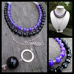 Onyx and Dyed Purple Agate Necklace by Milla's Place, via Flickr
