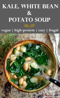 Kale, Potato & White Bean Soup (Vegan, High-Protein, Easy) Savor a hearty, satisfying meal while still kickstarting a HEALTHY New Year with this comforting so Healthy Diet Recipes, Healthy Soup Recipes, Whole Food Recipes, Vegetarian Recipes, Healthy Eating, Cooking Recipes, Vegetarian Kale Soup, Vegan Bean Soup, Easy Kale Recipes