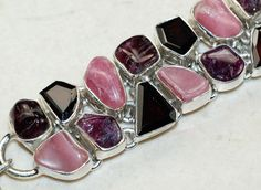 Rhodochrosite,Garnet Faceted bracelet designed and created by Sizzling Silver. Please visit  www.sizzlingsilver.com. Product code: BR- 9419