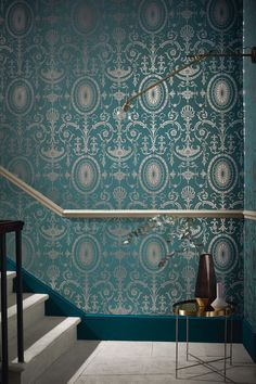 Stunning wallpaper design by Little Greene featuring a delicate stylised architectural damask.