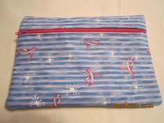 "8"" Cosmetic Bag / Make Up Bag / Pencil Pouch - Breast Cancer Awareness Pink Ribbons on Blue Stripes by ShawnasSpecialties on Etsy"