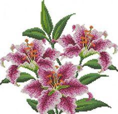 Розовые лилии - Цветы, натюрморты с цветами - Схемы вышивки - Иголка