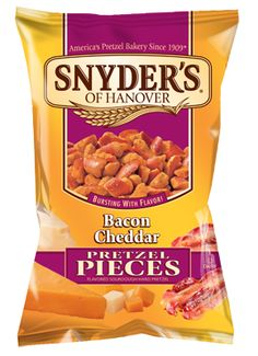 Bacon Cheddar Pretzel Pieces, from Snyder's Pretzels. For some reason I can't find these anywhere anymore! So either they've stopped making them, or I'm just not looking in the right stores. Where are you Bacon Cheddar?!