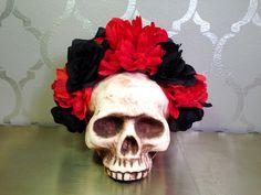 RED and Black FLOWER CROWN Frida Dia de los Muertos Lana del Rey by LaCatrinaDeSanDiego on Etsy https://www.etsy.com/listing/233322247/red-and-black-flower-crown-frida-dia-de
