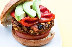 Sweet Potato Black Bean Burger with avocado, roasted red pepper, and tomato