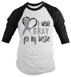 Shirts By Sarah Men's Wear Gray For Bestie 3/4 Sleeve Brain Cancer Asthma Diabetes Awareness Ribbon Shirt