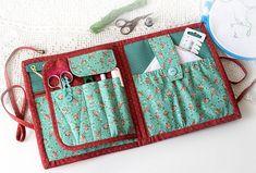 Green Cross stitch organizer case Floral Project bag sewing holder Cross stitch storage Gift for stitcher Embroidery organizer Sewing gift