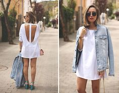 My Showroom Priscila - Sheinside Dress, Asos Shoes, Mykita Sunnies, Tous Bag, Swarovski Watch, River Island Denim Jacket - Blackless Dress