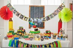 Kara's Party Ideas Back To School Party Planning Ideas within School Party Decoration Ideas Back To School Breakfast, Back To School Party, Back To School Teacher, School Parties, School Fun, School Days, School Stuff, School Week, School Tables