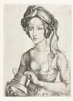 Een dwaze maagd (halffiguur), Martin Schongauer, 1470  #PublicDomain