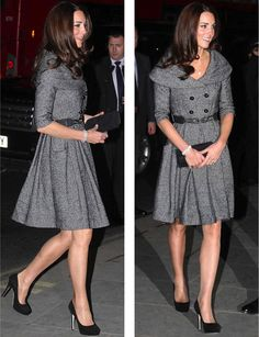 The Duchess of Cambridge choose a Jesire coat dress for the opening of the Lucian Freud exhibition at The National Portrait Gallery.