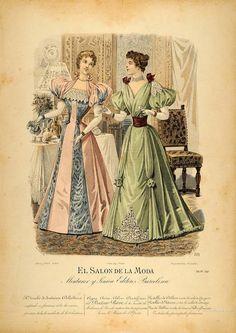 Vintage Hand Coloured Print - El Salon de la Moda, c. 1896